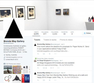 Screen shot of the Brenda May Gallery Twitter profile